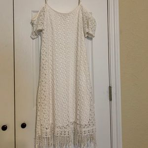 Cold Shoulder While Lace Dress with Fringe